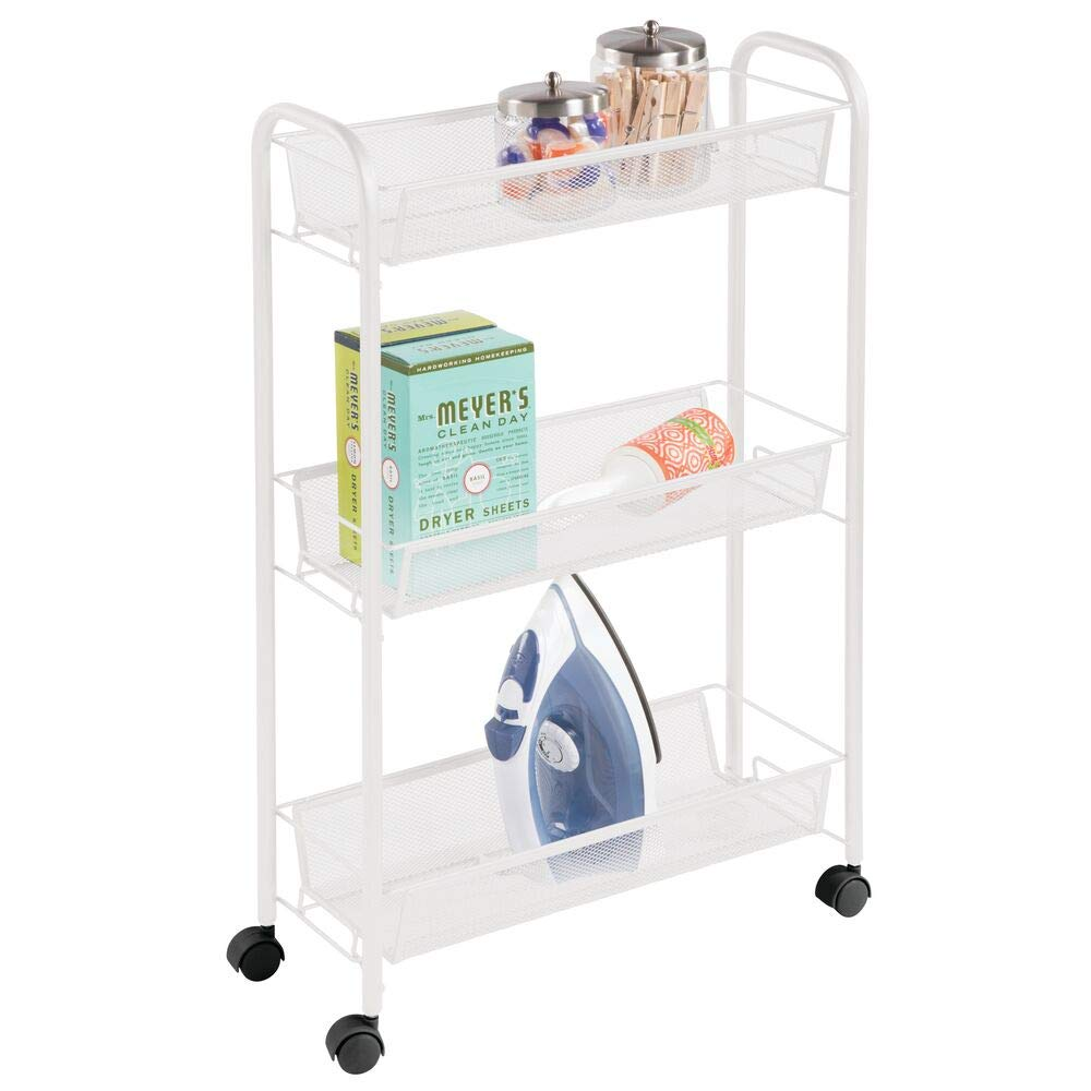 mDesign Portable Rolling Laundry Utility Cart Organizer Trolley with Easy-Glide Wheels and 3 Multipurpose Heavy-Duty Metal Mesh Basket Shelves - Narrow Shelf - Durable Steel Frame - White
