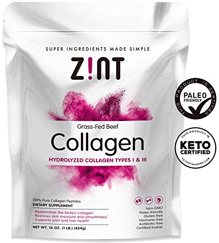 Zint Collagen Peptides Powder (16 oz): Paleo-Friendly, Keto-Certified, Premium Hydrolyzed Collagen Protein Supplement - Unflavored, Grass Fed, Non GMO ()