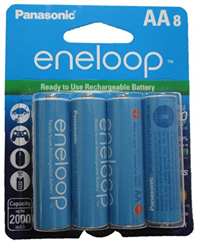 Newest Version Panasonic Eneloop 4th Generation 8 Pack AA NiMH Pre-Charged Rechargeable Batteries - WITH BATTERY HOLDER- Rechargeable 2100 Times