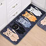 gel kitchen mats target Linker Wish Padded Kitchen Mat Welcome Floor Mats Animal Cat Printed Bathroom Kitchen Carpets Doormats Cat Floor Mat for Living Room Anti-Slip Pad 1