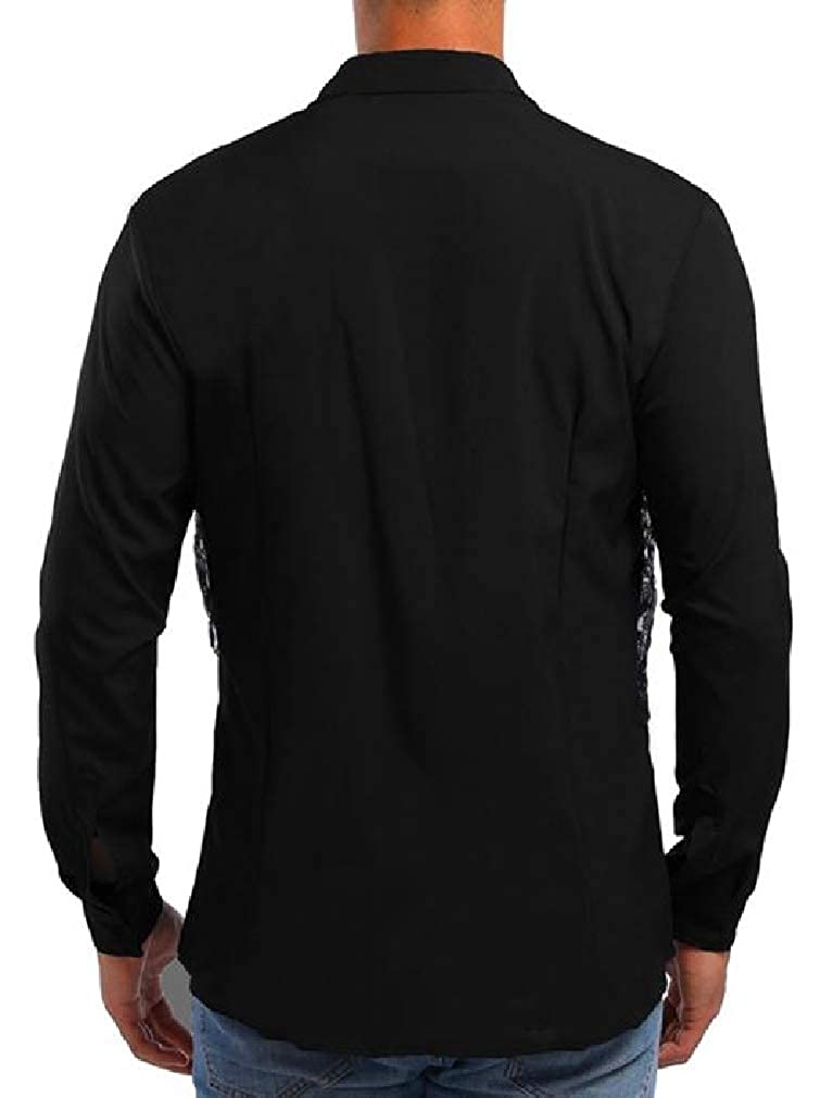 Sweatwater Mens Lace Lapel Neck Autumn Fake Two Long Sleeve Button Down Shirts