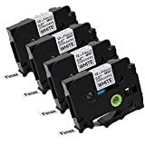 Fimax 4 Packs Compatible for Brother P-Touch TZe-S231 TZS231 TZeS231 1/2'' Extra Strength Laminated Label Tapes Black on White 0.47 Inche 26.2ft (12mm/8m)[Upgrade TZe-231]