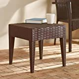 Exterior End Table, Side Table, Brown Color, Wicker, Decor Complement And Display, Durable And Sturdy Construction, Attractive, Eye-Catching, Ideal For Outdoors Backyard Patio, Porch, Garden & E-Book.