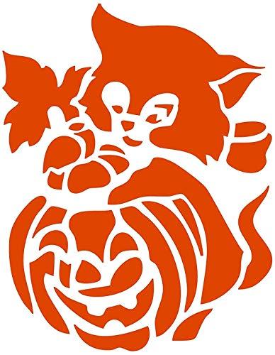 Halloween Kitty - Orange Sticker Graphic - Peel