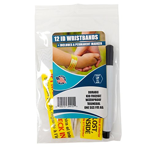 Identification Id Bracelet - 12 Pack Travel ID Bands - Wristbands for Kids - Disposable - Identification Bracelet, ID Wristband, Child ID - Travel, Field Trip, Amusement Park, Outdoor,Museum - Fits Adults & Kids - Made in USA