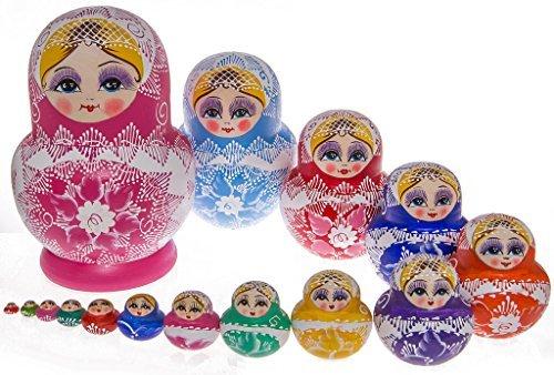 Moonmo 15pcs Beautiful Pink Handmade Wooden Russia Nesting Dolls Gift Russian Nesting Wishing Dolls Matryoshka Traditional