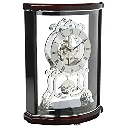 Bulova B2025 Wentworth Mantel Clock, Black & Mahogany