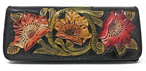 Designer Clutch for Gift Women Artisan Leather Three Handmade Flowers Floral Havana Convertible Vintage Crossbody Ebony XqA8wH