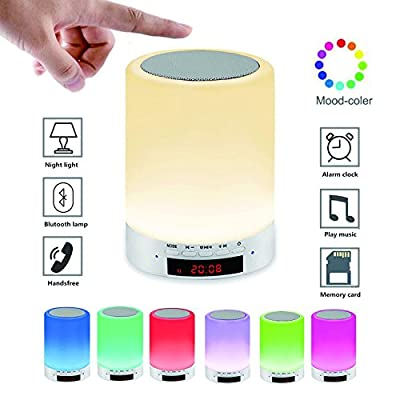 Night light with Bluetooth Speaker Rechargeable,Wake-Up Light Alarm Clock Touch Control 7 Color Changing,Bedside Lamp/Table lamps/Touch lamp for Bedroom and outdoor light for Camping/Hiking/Party