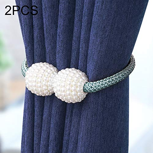Dig dog bone 2 PCS Adornments Pearl Magnetised Buckle Curtain Strap (Color : Navy Blue)