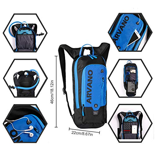 Bag Breathable Biking Cycling Outdoor Lightweight Waterproof Pack Sport Hiking 6L Hydration Camping Shoulder Backpack Water with Bladder Jarvan Backpack Blue Mini 2L Rucksack Backpack for Ski Biking aBwTZ7