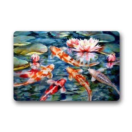 (Tuoneng Water Lily Koi Fish Pond Custom,Door Mats Indoor House Doormat)