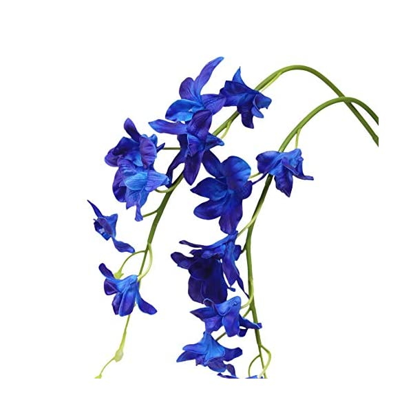 Angel Isabella, LLC 30″ Tall Real Touch Dendrobium Galaxy Orchid Spray Blue Purple White – Perfect for Home Decor, Bouquets, Wreaths, etc. (Royal Blue & Purple (1pc))