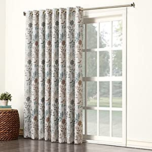 Sun Zero Kara Extra Wide Energy Efficient Grommet Patio Door Curtain Panel