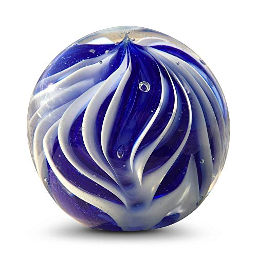 WHW Whole House Worlds Ripple Ball Paperweight, Blue and White, Hand Crafted Art Glass, 3 1/4 Inches Diameter Ball, No Roll Flat Bottom (8 D cm)