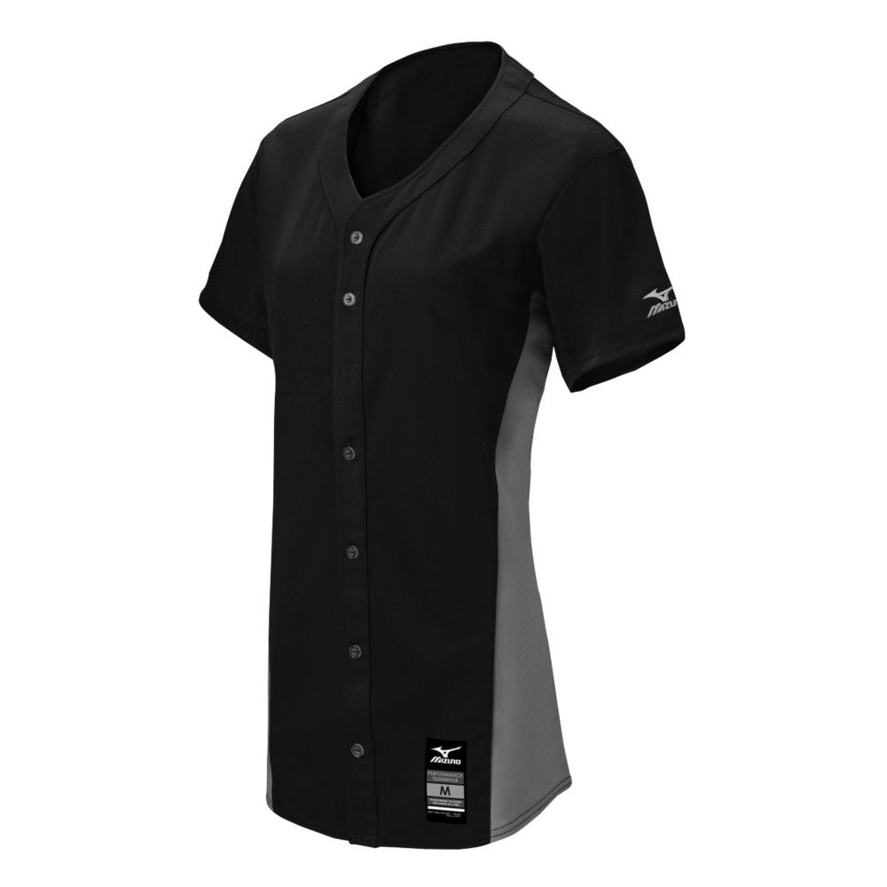 MizunoレディースPro full-button Game Jersey B074BYZ12W 3X-Large ブラック-グレー ブラック-グレー 3X-Large
