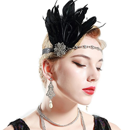Price comparison product image Babeyond Women's Stunning Party Prom Vintage 1920s Gatsby Headpiece Black Feather Headdress Flapper Headband Black