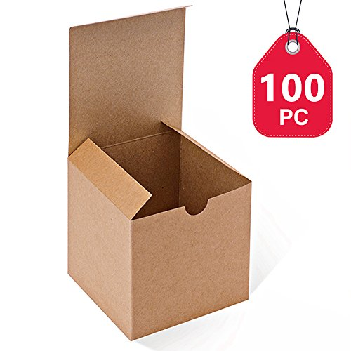 (MESHA Kraft Brown Boxes 100 Pack 4 x 4 x 4 Inches, Paper Gift Boxes with Lids for Gifts, Mugs, Cupcake Boxes)