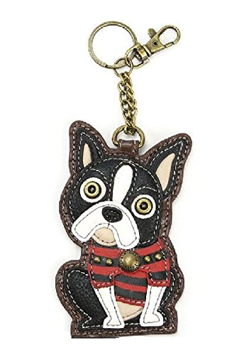 Chala Boston Terrier Puppy Dog Key Chain Coin Purse Leather Bag Fob Charm New