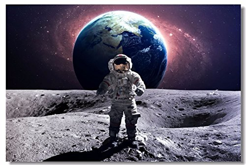 1x Poster Astronaut on The Moon Earth Planet A Men Drink Beer USA Flag Office Home Room Wall Deco 30x20