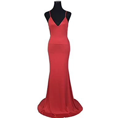 Tanyanini Sexy V Neck MerMaid Long Prom Dresses 2017 Backless Spandex Formal Evening Gowns Red/