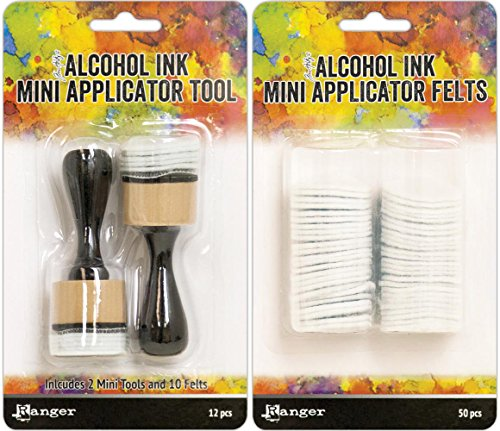 Tim Holtz Alcohol Ink Mini Applicator Tool and Replacement Felt Bundle (Set of 2 Items) ()