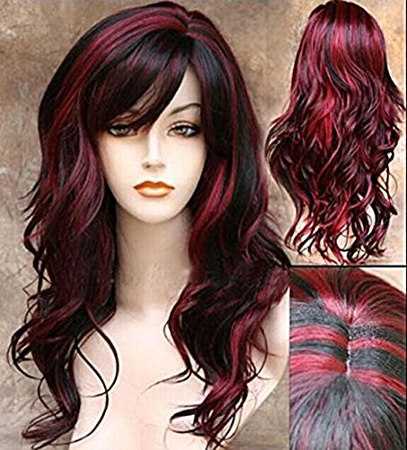 Red Hair Female Costumes (Imcolorful Halloween Women Curly Wavy Black with Wine Red Cosplay Party Long Hair Full Wig)