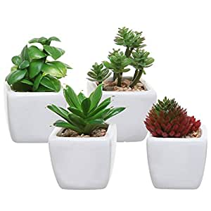 Set of 4 Small Modern Cube-Shaped White Ceramic Planter Pots with Artificial Succulent Plants - MyGift