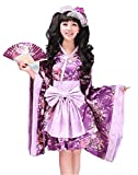 SSJ:Lolita Kimono Robe [ Short Skirt Flower Design ] Japanese Traditional Costume (XL, Purple)