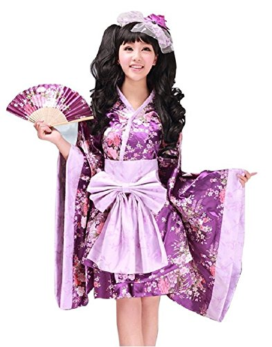 SSJ:Lolita Kimono Robe [ Short Skirt Flower Design ] Japanese Traditional Costume (XL, Purple) (Japanese Anime Costumes For Sale)