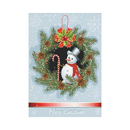 Christmas Wreath with Snowman Polyester Garden Flag Outdoor Banner 28 x 40 inch Double Sided Spring Summer Yard Outdoor (20 Snowman Wreath)