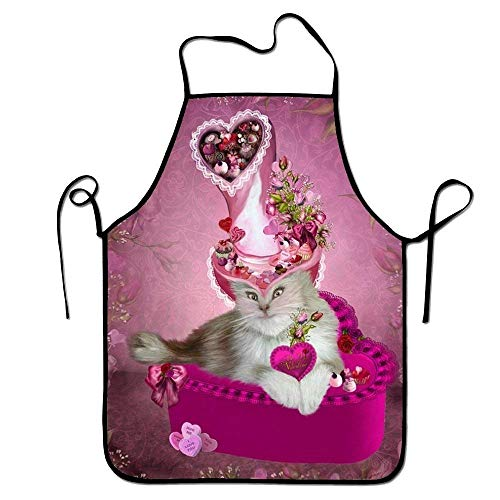 Sandayun88x Bib Aprons Pink Cat Aprons Printed Apron for Women Men -