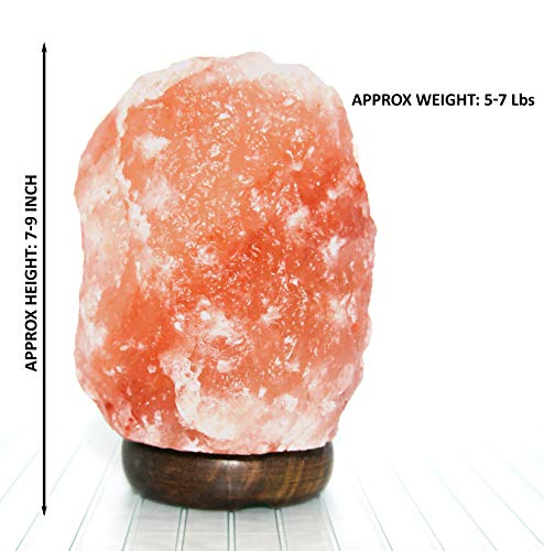 Bioexcel Pack of 2 Natural Himalayan Salt Lamp with Dimmer – Crystal Night Light Pink Salt Lamp Wood Base Hand Carved - Home Décor Table lamps | 5-7 lbs - 4 Bulbs 15 Watts Included With UL-Listed Cord by Crystal Allies (Image #4)