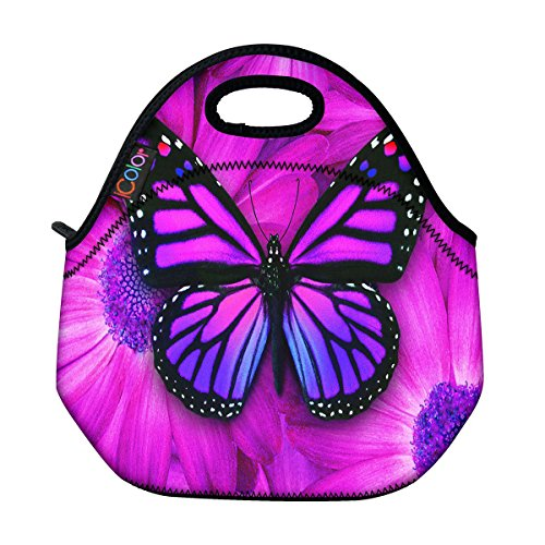 Butterfly Lunch Bag (ICOLOR Purple Big Butterfly Insulated Neoprene Lunch Bag Tote Handbag lunchbox Food Container Gourmet Tote Cooler warm Pouch For School work Office)