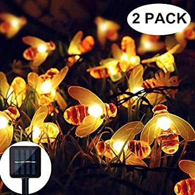 Solar Strings Lights Garden, 2 Pack 8 Modes Solar Powered Fairy Lights Waterproof Outdoor String Lights for Patio, Yard, Tree, Home, Party Decorations