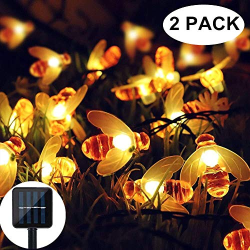 Solar String Lights, 2 Pack 30 LED Solar Bee Fairy Lights 8 Modes Copper Wire Lights Waterproof Outdoor String Lights for Garden Patio Gate Yard Party Wedding Indoor Bedroom (Warm White) ()