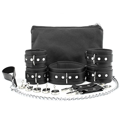 Madison Set Chain Leash Wrist Cuffs Ankle Cuffs Full Grain Leather Lockable Collar (Black) (Cuff Grain)