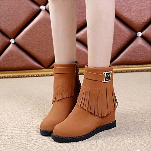 Warm 38 Side Tassels Ladies DIDIDD Eu Bottom Thick Shoes Zipper Boots Short Casual pxw4Bq