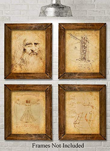 Original Leonardo da Vinci Art Prints - Set of Four Photos (8x10) Unframed - Makes a Great Gift Under $20 for Art and History Lovers