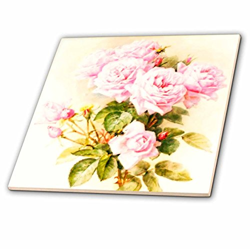 Fine Art Ceramic Tile (3dRose ct_151447_4 Paul De Longpre Shabby Chic Vintage Pink Roses Sun-Faded Antique Flowers Fine Art Girly Floral Ceramic Tile, 12-Inch)