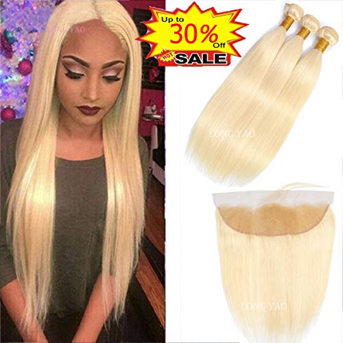 (LONG YAO 613 Blonde Bundles with Frontal Human Hair Brazilian Straight 3 bundles with Frontal 13x4 Lace Frontal with Bundles 613(613 Straight 12 14 16+10 Frontal, 613 Straight Bundles with Frontal))