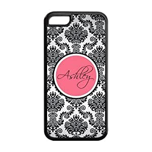 Monogram Personalized Damask Pattern Vs Rose Initials APPLE IPHONE 5C Best Durable PVC Cover Case hjbrhga1544