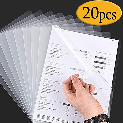 SzJias 20 Pack Clear L-Type Plastic Document Folder for Copy Safe Plastic Paper Jacket Sleeves in Assorted Project Pocket US Letter/ A4 in Transparent Color