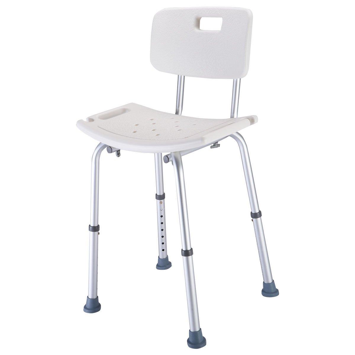 Shower Bath Chair 8 Height Adjustable Medical Stool Detachable Backrest