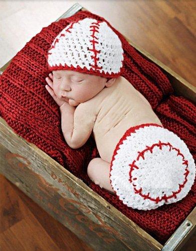 ecd9fda100a Amazon.com  Crochet Baby Newborn Girl Boy Baseball Hat Diaper Cover Costume  Photography Photo Props  Clothing