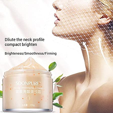 Neck Cream, Neck Firming Moisturizing Whitening Cream, Skin Tightening Cream Useful for Compacting + Brightening Neck Skin and Removing Neck Wrinkles SOONPURE