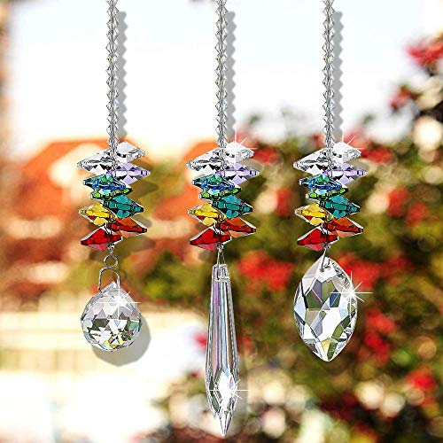 SunAngel Clear Jewelry Crystals Pendants &Chandelier Suncatchers Prisms Hanging Ornament Octogon Chakra Crystal Pendants (Multi-Faceted Beaded etc)