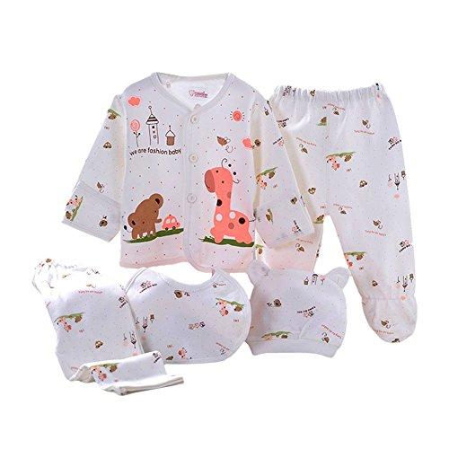 (Babywow 5PCS Newborn 0-3M Boys Girls Baby Cotton Clothes Tops Hat Pants Sleepwear Suit Outfit Sets )