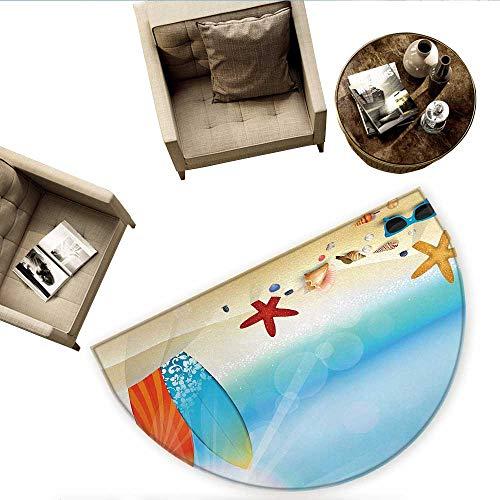 Seashells Half Round Door mats Holiday Theme Sunglasses Beach Summer Surfboard Daytime Sunny Starfish Seashells Bathroom Mat H 78.7