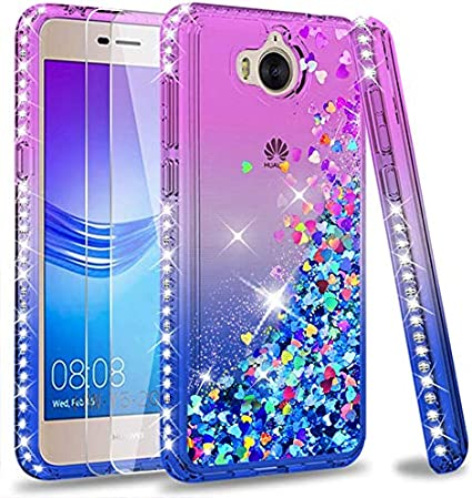 LeYi Custodia Huawei Y6 2017 / Y5 2017 / Y5 II 2017/Y5 PRO Glitter Cover con Vetro Temperato [2 Pack],Brillantini Diamond Sabbie Mobili Bumper Case ...